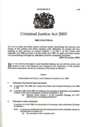 9780105444039 image Criminal Justice Act 2003
