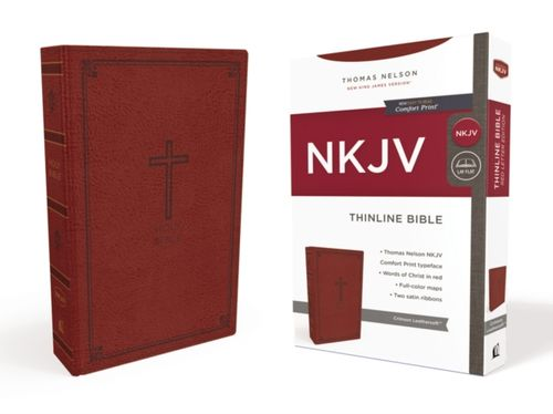 NKJV, Thinline Bible, Leathersoft, Red, Red Letter Edition, Comfort Print