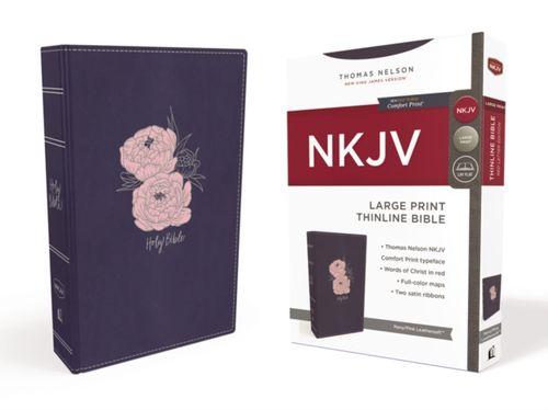 NKJV, Thinline Bible, Large Print, Leathersoft, Blue/Pink, Red Letter Edition, Comfort Print