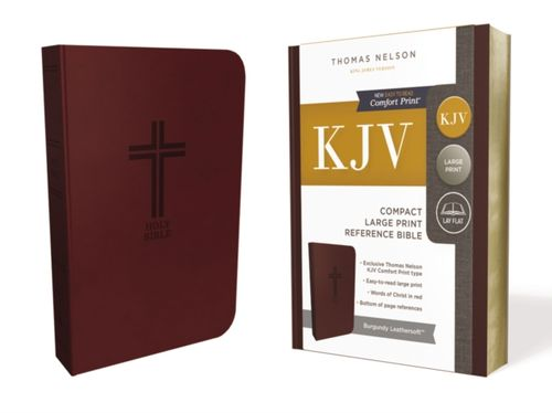 KJV, Reference Bible, Compact, Large Print, Leathersoft, Burgundy, Red Letter Edition, Comfort Print