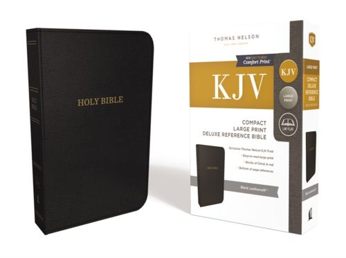 KJV, Reference Bible, Compact, Large Print, Leathersoft, Black, Red Letter Edition, Comfort Print