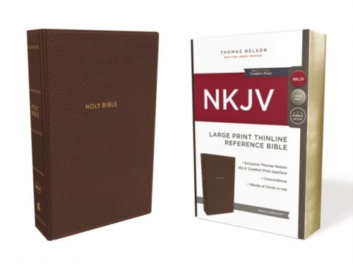 NKJV, Thinline Reference Bible, Large Print, Leathersoft, Brown, Red Letter Edition, Comfort Print