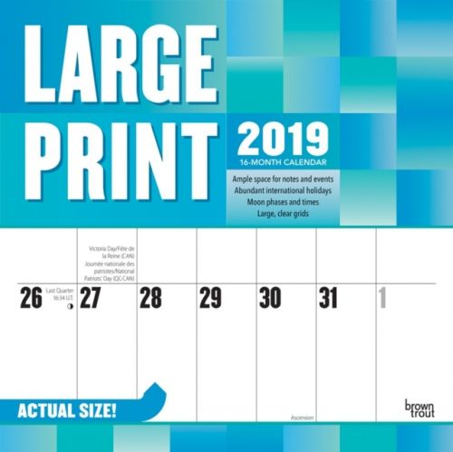 Large Print 2019 Square Wall Calendar